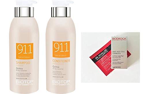 Biotop Professional 911 Quinoa Shampoo and Conditioner DUO 16.9 oz. each + 2 Free Samples