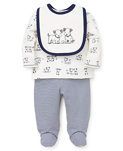 Little Me Baby Boys Lap Shoulder Set with Bib, Puppy Toile Marshmallow/Medieval Blue, 9 Months (Infant Puppy)