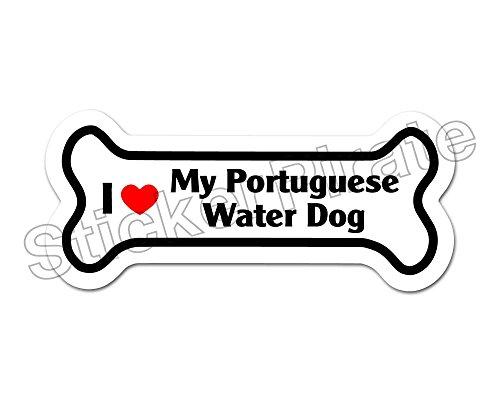 Dog Bone Magnet I Love My Portuguese Water Dog Car Truck Locker Magnet