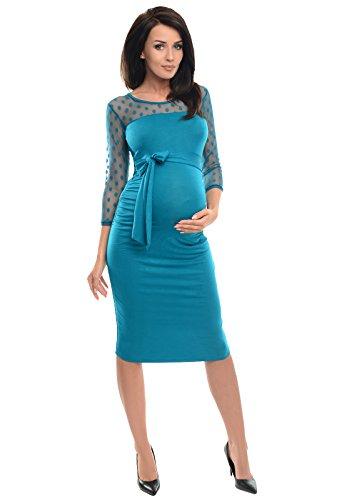 D008 Maternity Bodycon Turquoise Purpless Pizzo Con Abito Gravidanza Di LA345jR