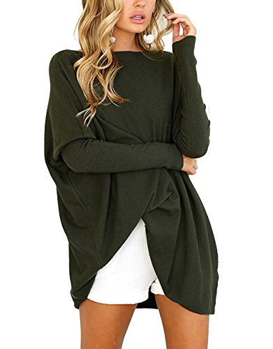 Women's Casual Tunic Top Blouse Solid Batwing Long Sleeve Pullover Knit - Knit Batwing Top