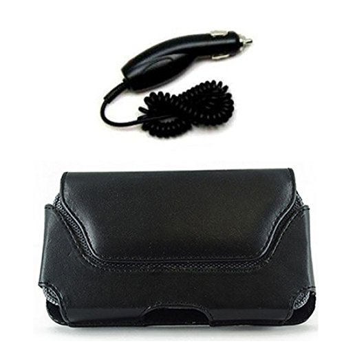 Package Deal Car Charger Adapter & Black Horizontal Leather Cover Belt Clip Side Case Pouch For Nokia E6 E6-00
