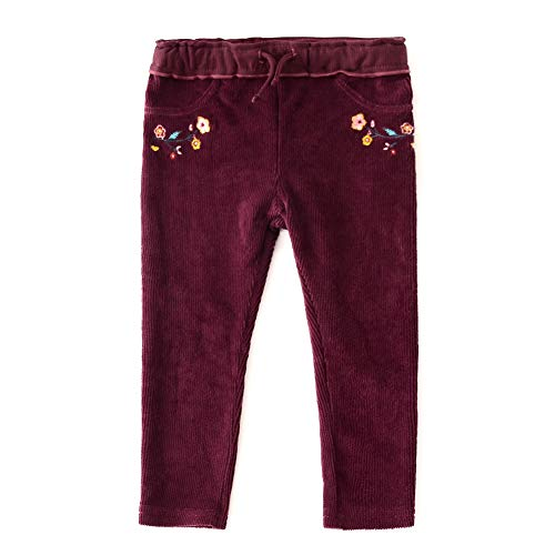 (SNOW DREAMS Baby Girls Basic Corduroy Leggings Embroidered Burgundy 30M)