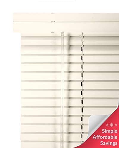CHICOLOGY Custom Made Corded 1-Inch Aluminum Mini Blind, Blackout Horizontal Slats, Inside Mount, Room Darkening Perfect for Kitchen-Bedroom-Living Room-Office and More – 80 W X 72 H, Light Alabaster
