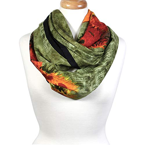 Scarfand's Mixed Color Oil Paint Infinity Versatile Fashion Scarf Head Wrap (Flower Pot Green)