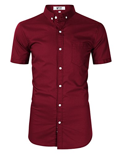 MrWonder Men's Casual Slim Fit Button Down Dress Shirt Long Sleeve Solid Oxford Shirt (S, Short Sleeve Wine Red)