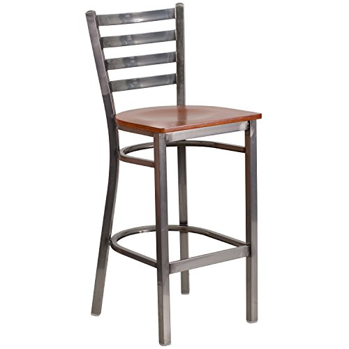 Flash Furniture HERCULES Series Clear Coated Ladder Back Metal Restaurant Barstool - Cherry Wood Seat by Flash Furniture