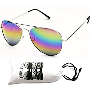 A120-vp Aviator 80s Metal Sunglasses Unisex (RB Silver-Rainbow Mirror, uv400)