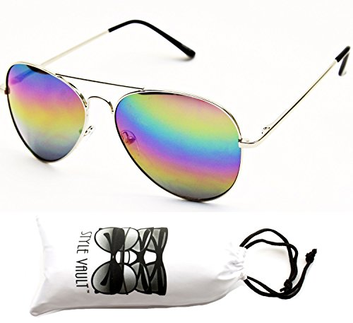 A120-vp Aviator 80s Metal Sunglasses Unisex (RB Silver-Rainbow Mirror, - Aviator School Sunglasses Old