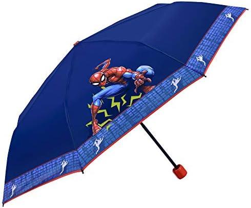 Marvel Spider Man Regenschirm für Jungen - Kinder Taschenschirm Spiderman - Kinderschirm Leicht Kompakt Windfest aus Glasfaser - 7+ Jahren - PFC Free - Durchmesser 91 cm - Perletti Kids