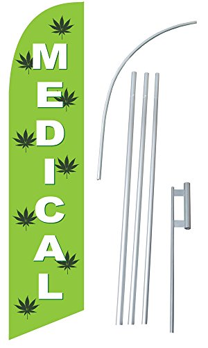 """Medical Marijuana"" 12-foot SUPER Swooper Feather Flag With Heavy-Duty 15-foot Pole and Ground Spike"