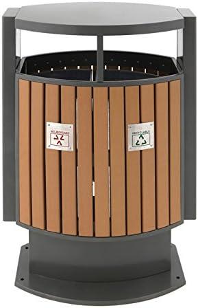 Papelera para separación de basura exterior imitación de madera: Amazon.es: Jardín