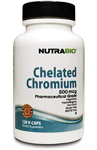 NutraBio Chelated Chromium GFT - 500 mcg - 120 Vegetable Capsules