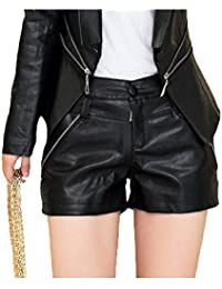 Women's Sexy Faux Leather Shorts with Zipper and Pocket