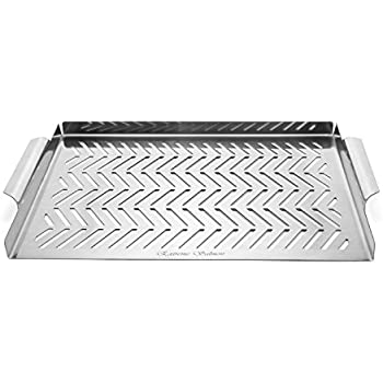 Extreme Salmon Grill Pan Stainless Steel Grill Topper Grill accessories for BBQ Grills Outdoor Cooking Meat and Veggies