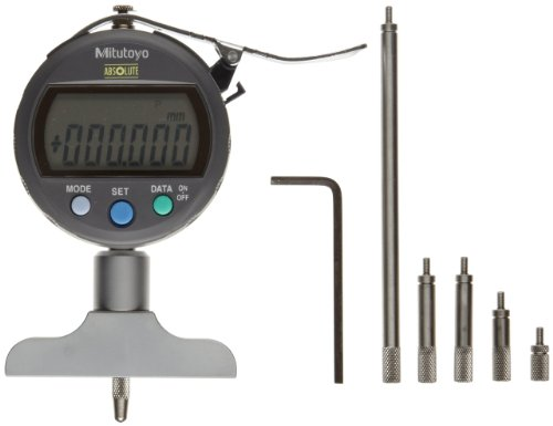 Mitutoyo 547-211 ABSOLUTE Digimatic LCD Depth Gauge, Indicator Type, 0-200mm Range, 0.01mm Graduation, +/-0.02mm Accuracy, 63.5mm x 16mm Base
