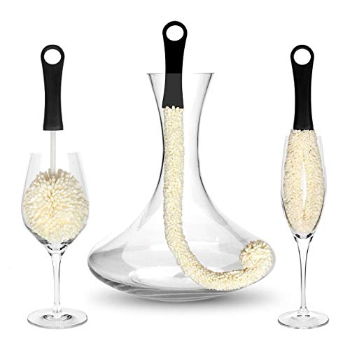 Bar Amigos Tm Set Of 3 - Decanter & Glassware Cleaning Brushes Glass Cleaning Brush For Cleaning Hard To Reach Areas Items Such As Wine Champagne Glasses Babies Bottles, Beer Steins, Neck Goblets
