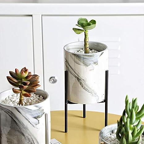 Negro Cactus Peque/ños Haihuic Mini macetas Interiores con Soporte de Metal Jardinera de cer/ámica veteada Moderna de 16.5 cm // 6.5Alt Plantas A/éreas Titular de Hierro para Suculentas