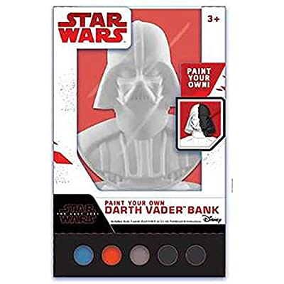 "Peachtree Playthings Star Wars Darth Vader Paint Your Own Bank Figural Coin Bank, Unpainted, 10"" x 7"": Toys & Games"
