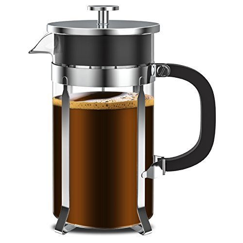 French Press - Zestkit French Press Coffee Maker 34 oz Coffee and Tea Press with Stainless Steel & Heat-Resistant Borosilicate Glass, 2 Extra Mesh Filters and Coffee Spoon Included