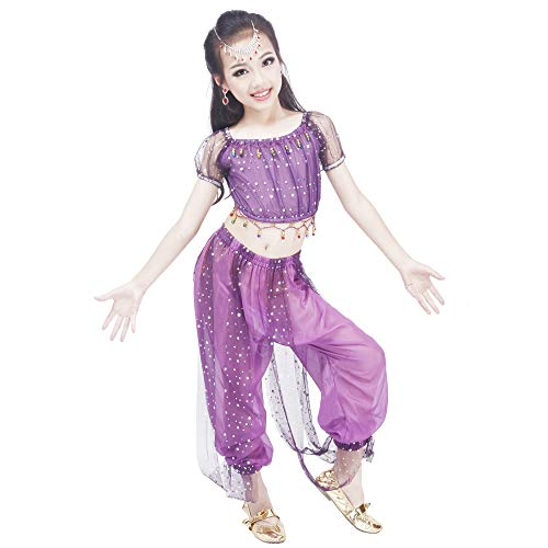 Maylong Girls Polka Dot Harem Pants Belly Dance Outfit Halloween Costume DW50 (Small, Purple)