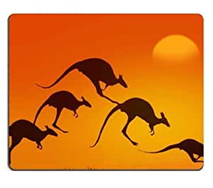 Sunset Kangaroo Animals Silhouettes Jumping Mouse Pads Customized Made to Order Support Ready 9 7/8 Inch (250mm) X 7 7/8 Inch (200mm) X 1/16 Inch (2mm) High Quality Eco Friendly Cloth with Neoprene Rubber MSD Mouse Pad Desktop Mousepad Laptop Mousepads Comfortable Computer Mouse Mat Cute Gaming Mouse pad