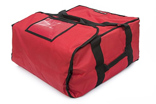 Red Polyester Insulated Pizza / Food Delivery Bag 16″ - 18″ Professional Large Pizza Delivery Bag- Moisture Free (Polyester Carrier Strips)
