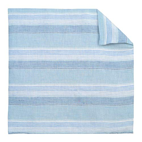 - Luxury French Farmhouse Linen Damask Blue White Striped Euro Shams 26x26 Square Pillow Cover Multicolor Ticking Small Thin Pin Stripe Sofa Throw Accent Decorative Couch Reversible Covers Case Sham