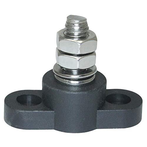 Grounding Stud - Insulated Battery Power Junction Post Block 3/8 Lug X 16 thread (Black) Ground