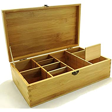 Multikeep Adjustable Tea Box 128 Tea Bag Storage Organizer Bamboo Latching Lid (Blank Lid)