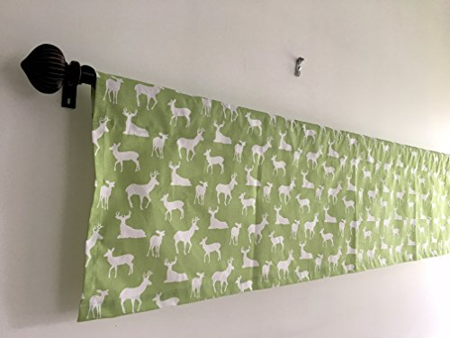 SALE Lowest Price Kitchen Curtain Kitchen Decor Window valance premier print Baby Green and white Animal Prints cotton Deer Prints baby room Nursery Room Curtains 54x13, 54x14, 54x17, 54x20, 54x22