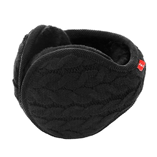 Surblue Unisex Warm Knit Cashmere Winter Pure Color Earmuffs with Fur Earwarmer, Adjustable Wrap,Black,Large (Muffs Ear Bandless)