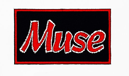 Muse Du Costume (MNC Patch Black Muse Music Band Heavy Metal Punk Rock Logo iron on sew on patch Sign Badge Symbol Patch Iron on Applique Embroidered Jacket T shirt Costume)