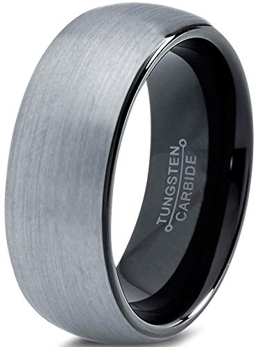 Charming Jewelers Tungsten Wedding Band Ring 8mm for Men Women Comfort Fit Black Domed Round Brushed Size 10.5 (Unique Wedding Band Sets His And Hers)