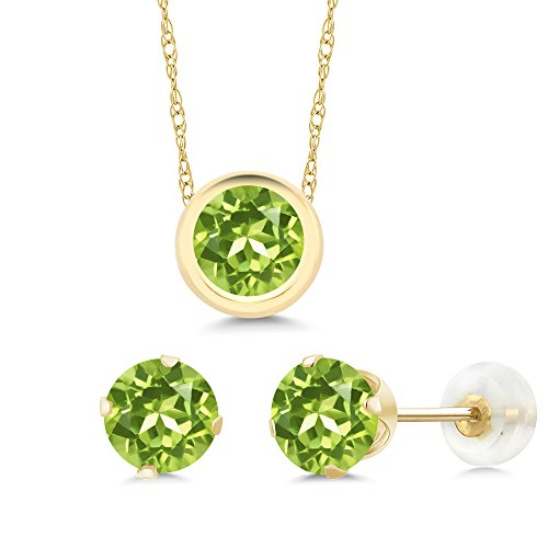 2.55 Ct Round Green Peridot 14K Yellow Gold Pendant Earrings Set by Gem Stone King