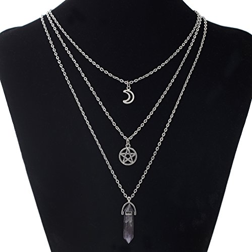 Triple Chain Charm Necklace - 8