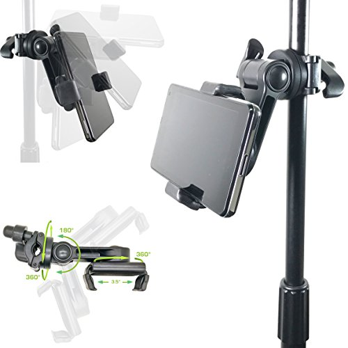 AccessoryBasics Music Boom Mic Microphone Stand Smartphone Mount w/360° Swivel Adjust Holder for Apple iPhone X 8 7 Plus 6s Samsung Galaxy S8 S9 Note Google Pixel XL LG v30 phones by Accessory Basics (Image #1)