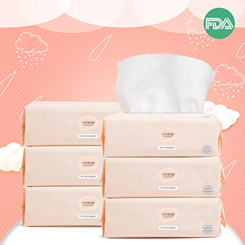 Dry Baby Wipes Octmami Soft Dry Cotton Wipes Baby Tissue Cotton for Sensitive Skin Portable 6 Packs 600 Count