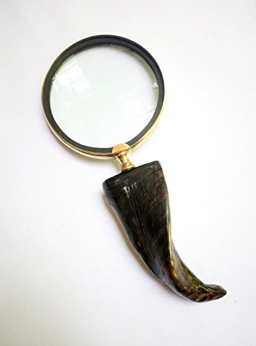 Antique Handheld Magnifier with 3 inch Premium Brass Framed Magnifying Glass with Handcrafted Goat Bone Handle | Office Ware Decorative Zooming Lens By Hind Handicrafts (Design - Eyewear 80 8 To