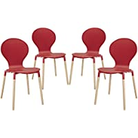 Modway Path Dining Chair, Red, Set of 4