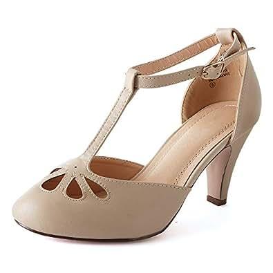 Guilty Heart Womens T-Strap Ankle Strap Retro Pump - Cut Out Comfortable Ankle Buckle Shoe Pump Beige Size: 5.5