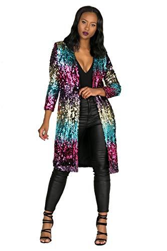 - Memoryee Women's Long Sleeve Sequins Open Front Cardigan Casual Coat XL