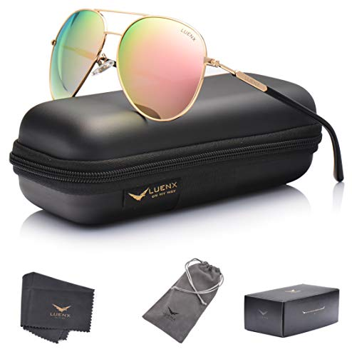 Womens Sunglasses Aviator Polarized Pink Mirror by LUENX - UV 400 Protection Gold Frame ()