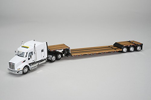 Peterbilt Tractor Trailer Diecast Toy - 1:64 New Holland 579 Tractor Trailer Truck w/ Lowboy Trailer