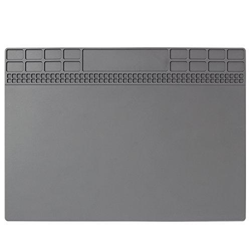 Mats Magnetic - Repair Mat, Premium Magnetic Silicone Solder Mat Heat Resistant 932°F Electronic Repair Mat for Solder Station, Soldering Iron, Phone and Computer Repair 13.8'' x 9.8'' Gray
