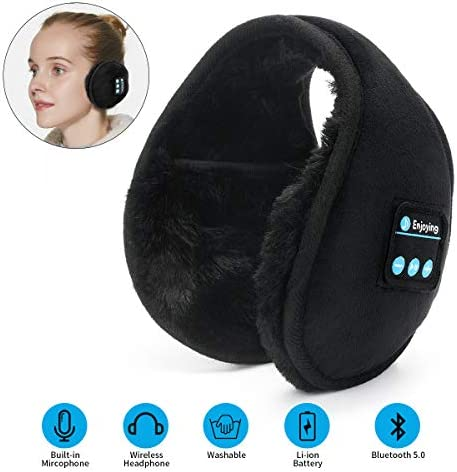 Bluetooth Earmuffs Headphones Ear Warmers ERNSTING Bluetooth 5.0 Wireless Headphones Earmuffs Built-in HD Speakers and Microphone Foldable Suitable for Men, Women Outdoor Sports and Travel