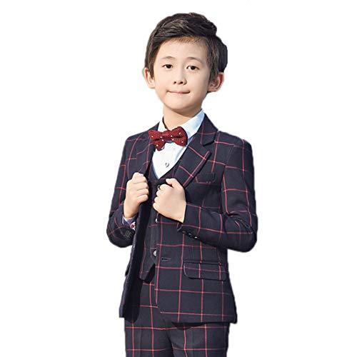 7d978ba2307b8 男の子 フォーマル スーツ チェック 柄 子供用 結婚式 発表会 ジャケット ベスト ズボン シャツ ボウタイ