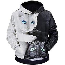Fulision Hombre sudadera con capucha gato blanco y negro Sudadera con capucha suelta bolsillo 3D