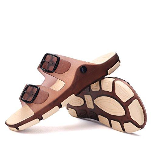 Hishoes - Zapatillas de estar por casa de pvc para hombre marrón