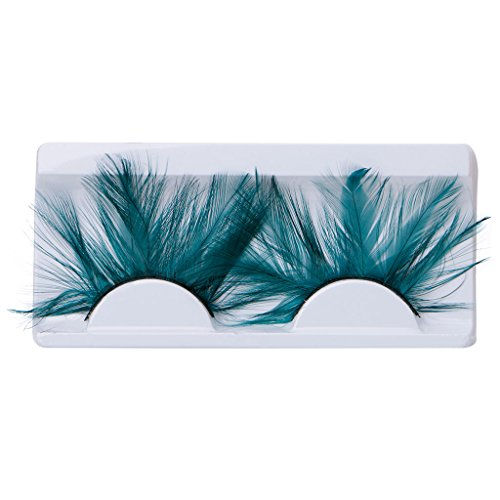 Niceskin Exaggeration Fake Eyelashes Makeup Tool for Party Club, 1 Pair, Feather and Plastic (peacock (Peacock Makeup)